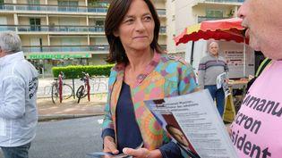 Sandrine Morch, candidate de la La République en marche pour les élections législatives, à Toulouse (Haute-Garonne), le 3 mai 2017. (ERIC CABANIS / AFP)