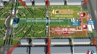 """L'image (en numérique) qui montre la """"fanszone"""" à Paris pour l'Euro 2016 sur le Champs de Mars (SIPA)"""