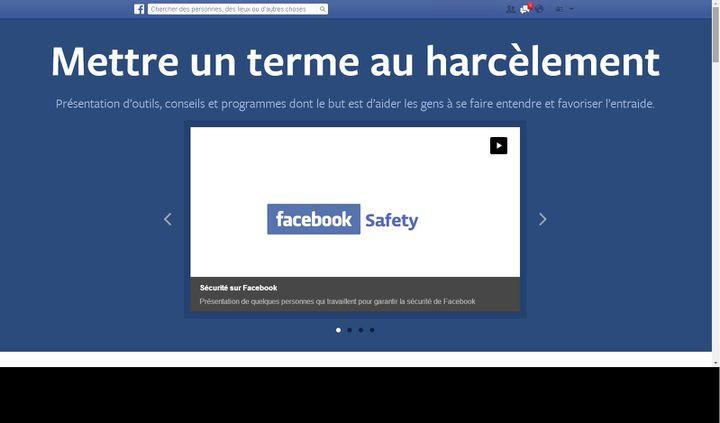 (Capture d'écran du portail Facebook contre le harcèlement)