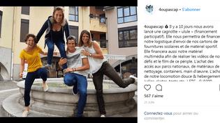 Clémentine Jullien, ancienne candidate de Koh Lanta, et trois de ses proches ont lancé une cagnotte de financement participatif pour leur projet de tour du monde. (CAPTURE D'ÉCRAN / INSTAGRAM)