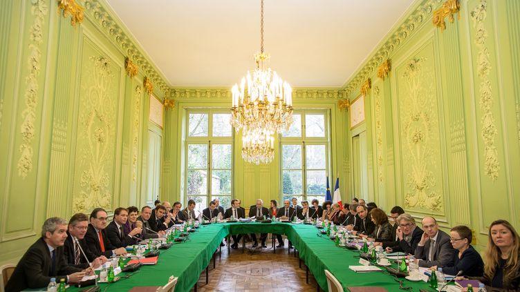 La conférence socialethématique concernantle bilan de la loi sur la sécurisation de l'emploi, au ministère du Travail à Paris, le 3 avril 2015. (MAXPPP)