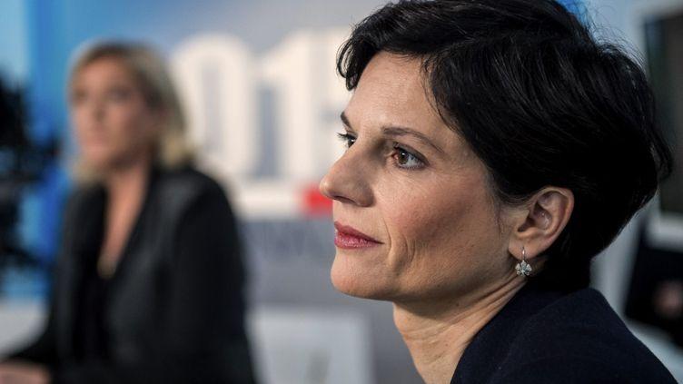 L'ancienne vice-présidente de la région Hauts-de-France et actuelle responsable d'EELV Sandrine Rousseau, sur le plateau de France 3 à Lille (Hauts-de-France), le 3 décembre 2015. (PHILIPPE HUGUEN / AFP)