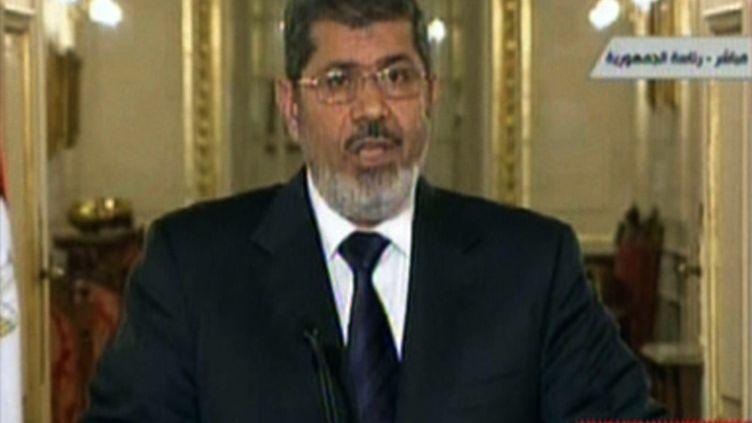 Capture d'écran de la télévision nationale égyptienne lors de l'allocution de Mohamed Morsi, dimanche 27 janvier 2013. (EGYPTIAN TV / AFP)