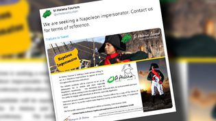Le tweet de l'office de tourisme de l'île de Sainte-Hélène pour annoncer le recrutement de ce faux Napoléon. (CAPTURE ECRAN)