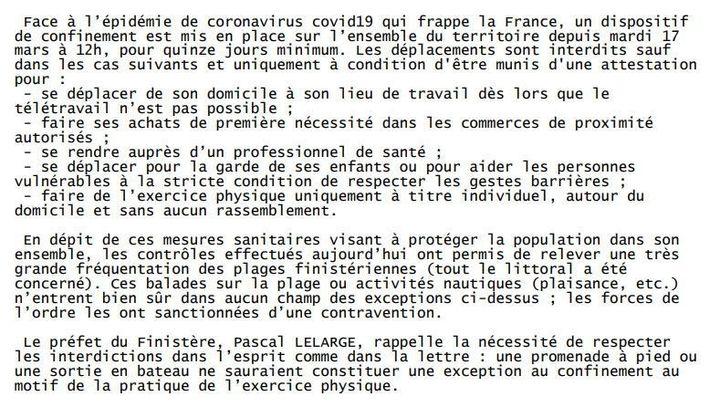 Le fac-similé du communiqué de la préfecture (Préfecture du Finistère)