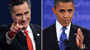 Mitt Romney (G) et Barack Obama durant leur premier débat,organisé le 3 octobre 2012 à Denver, dans le Colorado (Etats-Unis). (SAUL LOEB / NICHOLAS KAMM / AFP)