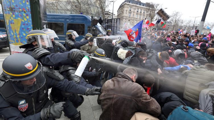 Des CRS font usage de gaz lacrymogènes contre des manifestants anti-mariage pour tous, le 24 mars 2013 à Paris. (THOMAS SAMSON / AFP)