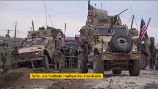 Des blindés américains pris à partie par la populationde Syrie (FRANCEINFO)