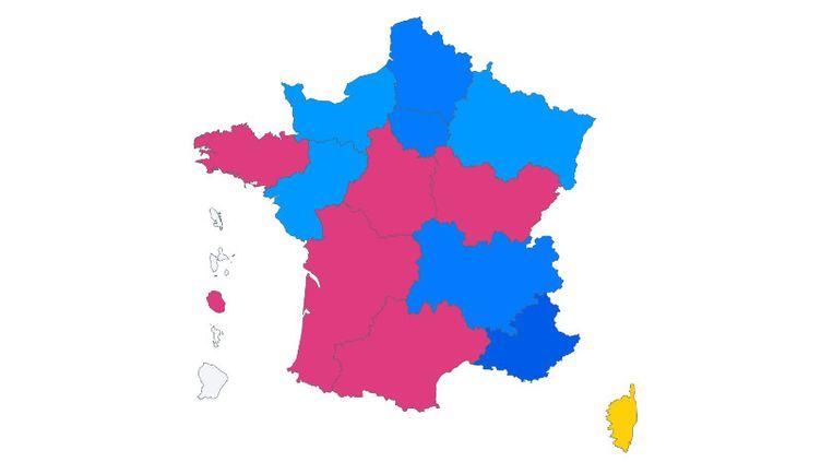 La carte de France des résultats des régionales, le 27 juin 2021, selon notre estimation Ipsos Sopra/Steria. (ROBIN PRUDENT / FRANCEINFO)