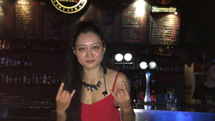 Pink, la fondatrice du Temple Bar à Pékin. (DOMINIQUE ANDRÉ / RADIO FRANCE)