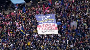 Des manifestants défilent à Londres (Royaume-Uni) pour un second référendum sur le Brexit, le 19 octobre 2019. (UK BROADCASTERS POOL / AFP)