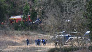 Des gendarmes et pompiers sur les lieux où deux hélicoptères militaires se sont écrasés, vendredi 2 février 2018 près du lac de Carcès (Var). (ANNE-CHRISTINE POUJOULAT / AFP)