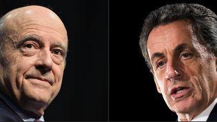 Alain Juppé et Nicolas Sarkozy, deux candidats à la primaire à droite. Montage photo effectué le 21 septembre 2016. (NICOLAS TUCAT / AFP)