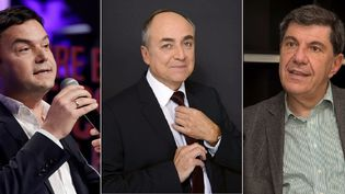 Thomas Piketty, Jacques Généreux et Jacques Sapir, trois des économistes au coeur de la campagne présidentielle. (AFP / FRANCEINFO)