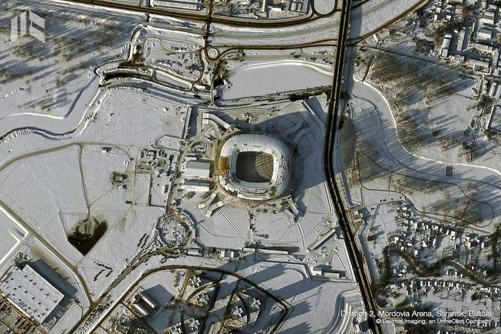La Mordovia Arena de Saransk est une nouvelle enceinte dont la capacité est de 44 000 personnes. (DEIMOS IMAGING / URTHECAST)