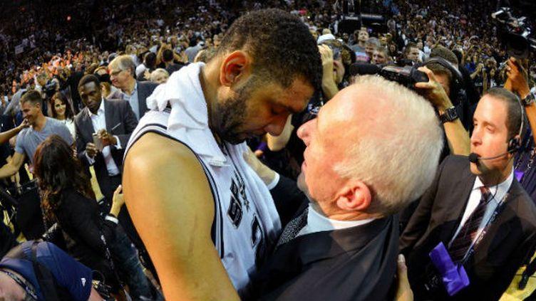 Tim Duncan et Gregg Popovich (San Antonio Spurs)