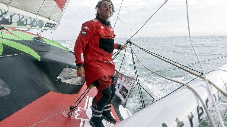 Le skipper Yannick Bestaven (Maître Coq IV). (SEBASTIEN SALOM-GOMIS / AFP)