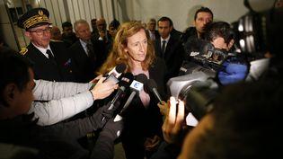 La ministre de la Justice, Nicole Belloubet,le 19 janvier 2018, devant la prison de Borgo (Haute-Corse), où deux gardiens ont été blessés par un détenu. (PASCAL POCHARD-CASABIANCA / AFP)