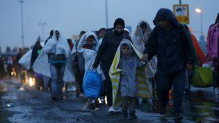 Des migrants arrivent à pied à la frontière entre la Hongrie et l'Autriche, le 5 septembre 2015. (LASZLO BALOGH / REUTERS)