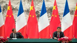 Emmanuel Macron et le président chinoisXi Jinping à Pékin, le 9 janvier 2018. (MARK SCHIEFELBEIN / POOL)