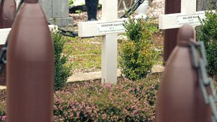 Tombe d'Augustin Trébuchon, ultime mort de la Der des Ders, à Vrigne-Meuse (Ardennes). (FRANCOIS NASCIMBENI / AFP)