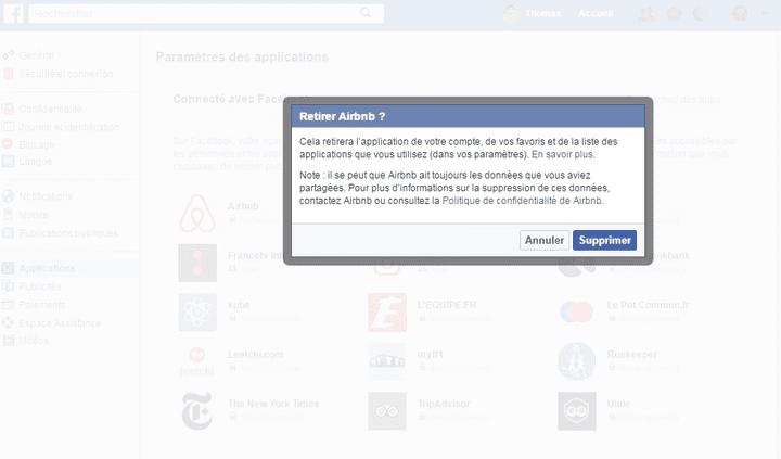 Il est possible de supprimer purement et simplement une application liée à votre compte Facebook. (FACEBOOK.COM)