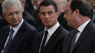 Claude Bartolone, Manuel Valls et François Hollande assistent aux obsèques de Michel Rocard, le 7 juillet 2016. (PHILIPPE WOJAZER / REUTERS)