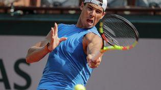 L'Espagnol Rafael Nadal, le 25 mai 2018 à Roland-Garros. (THOMAS SAMSON / AFP)