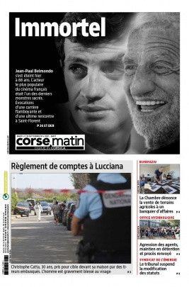 "La une de ""Corse Matin"", le 7 septembre 2021. (CORSE MATIN)"