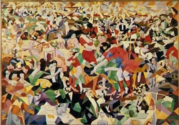 Gino Severini. La Danse du pan-pan au « Monico », Musée national d'Art moderne — centre Pompidou, Paris. Réplique d'artiste (1959-1960) exécutée à Rome d'après le tableau original (1909-1911) disparu depuis 1926.  (© ADAGP, Paris 2014)