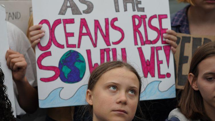 Greta Thunberg avec des activistes devant le siège des Nations unies à New York lors d'une manifestation contre le dérèglement climatique, le 12 septembre 2019. (BRYAN R. SMITH / AFP)