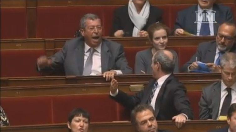 """Patrick Balkany, député UMP, scande """"Référendum ! Référendum !"""" à l'Assemblée nationale, le 15 janvier 2013. (FRANCETV INFO)"""
