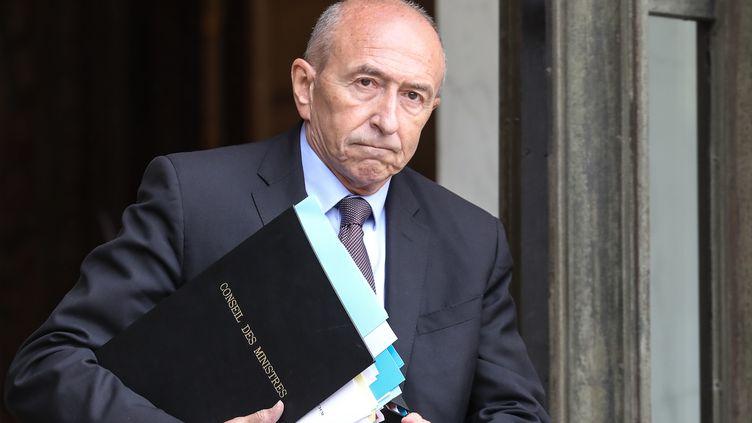 Le ministre de l'Intérieur Gérard Collomb à la sortie du palais de l'Elysée à Paris, le 12 juin 2018. (LUDOVIC MARIN / AFP)
