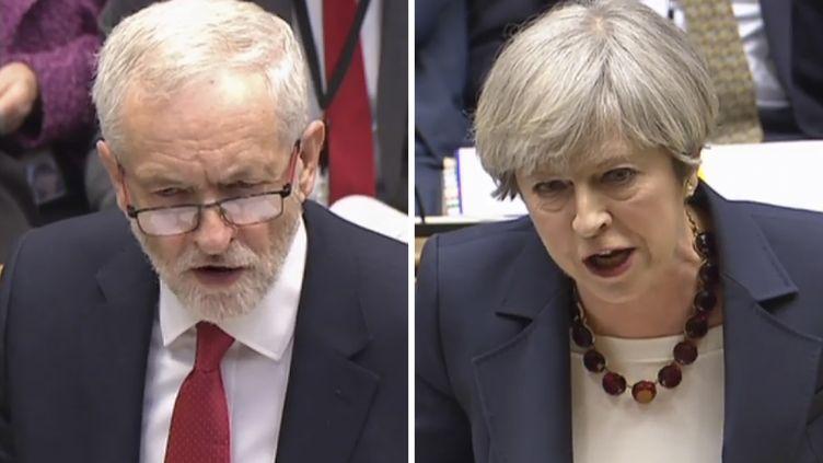 La Première ministre britannique, Theresa May (à droite), et son rival travailliste pour les législatives, Jeremy Corbyn. (AFP)
