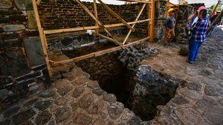 Un temple a été découvert dansla pyramideTeopanzolco au Mexique, le 11 juillet 2018. (RONALDO SCHEMIDT / AFP)