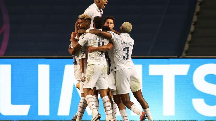 La joie des joueurs du Paris Saint-Germain. (RAFAEL MARCHANTE / POOL)