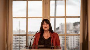 Michèle Rubirola, lors de l'annonce de sa démission à la mairie de Marseille, le 15 décembre 2020. (GUILLAUME ORIGONI / HANS LUCAS / AFP)