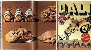 """""""Les Dîners de Gala"""" de Salvador Dali Page 32 et couverture de l'édition internationale.  (Taschen)"""