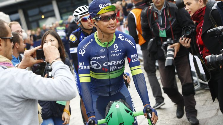 Esteban Chaves, le coureur colombien d'Orica-BikeExchange. (LUK BENIES / AFP)