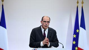 Jean Castex, lors d'une conférence de presse sur l'épidémie de Covid-19, à Paris, le 4 février 2021. (MARTIN BUREAU / AFP)