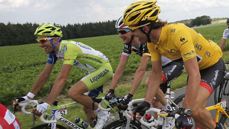 Ivan Basso, Frank Schleck et Fabian Cancellara sur le Tour 2012 (CHRISTOPHE ENA/AP/SIPA / AP)