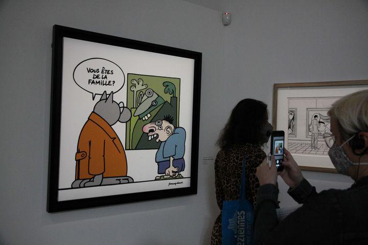 Le dessinateur belge Philippe Geluck, espiègle comme on le connaît, avec ce gag du visiteur de musée aux airs de cubisme picassien. (GINIES/SIPA)