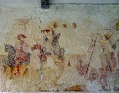 """Détail de la fresque """"le dit des Trois Morts et des trois Vifs"""" de l'église de Moeurs-Verdey  (Marie-Paule Barrat)"""