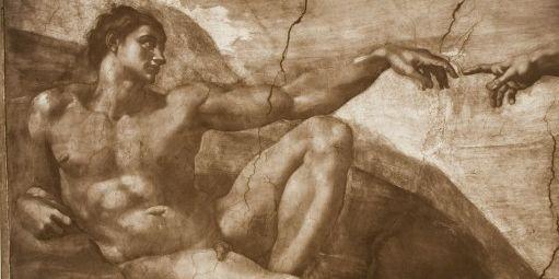 """Dessin de Michel Ange à la Chapelle Sixtine au Vatican, """"dieu créant l'homme"""" (AFP/Patrice Schmidt / MUSEE D'ORSAY / RMN-Grand Palais)"""
