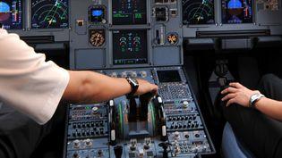 Dans le cockpit d'un Airbus A320, stationné sur le tarmac de l'aéroport de Djakarta (Indonésie), le 24 septembre 2008. (ADEK BERRY / AFP)