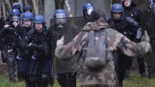 Un opposant fait face aux gendarmes mobiles sur la ZAD, à Notre-Dame-des-Landes (Loire-Atlantique), le 10 avril 2018. (LOIC VENANCE / AFP)