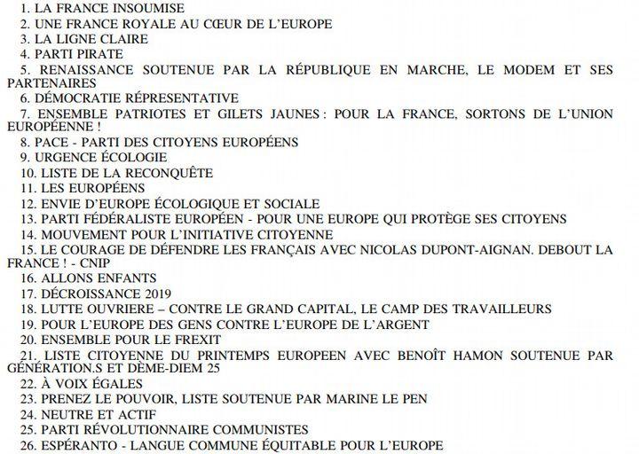 Liste des partis en lice aux élections européennes. (capture d'écran) (LEGIFRANCE)