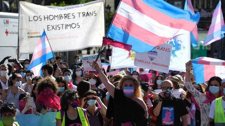 Des manifestants avec des drapeaux au couleurs des personnes transgenres, lors d'une manifestation à Madrid (Espagne) le 4 juillet 2020. (PIERRE-PHILIPPE MARCOU / AFP)