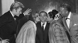 Johnny Hallyday, Melina Mercouri, Charles Aznavour, la danseuse La Chunga et Charles Trenet en 1971