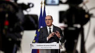Jean Castex, le Premier ministre, lors de la conférence de presse de présentation du plan de déconfinement, jeudi 11 décembre 2020. (THOMAS SAMSON / POOL)